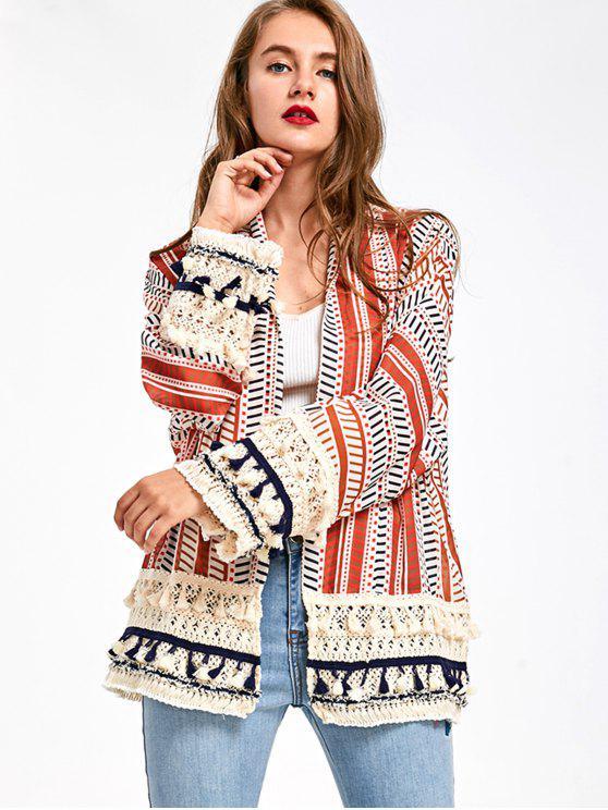 women Print Tassel Short Kimono - PEARL KUMQUAT L