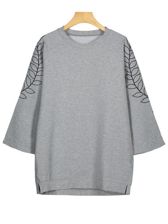 Tunika Sweatshirt mit Blattstickerei - Grau S
