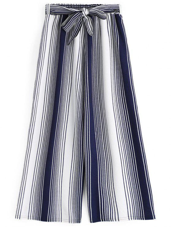 Neunte Bowknot Streifen weites Bein Hosen - Streifen  Eine Größe