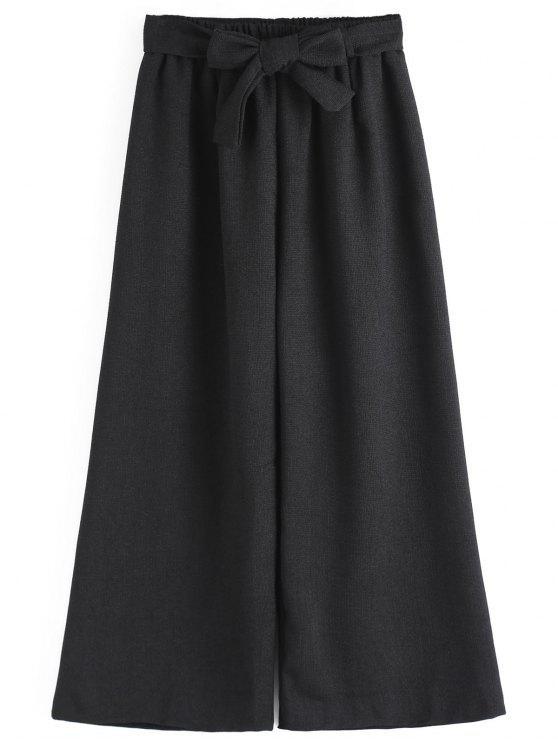 shop Ninth Bowknot Wide Leg Pants - BLACK ONE SIZE