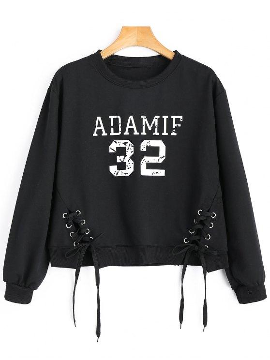 Sweatshirt mit Schnürsenkel und Adamif Grafik - Schwarz Eine Größe