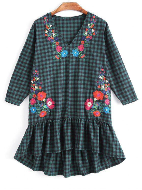 Rüschen kariert Floral bestickten Casual Dress - Kariert M