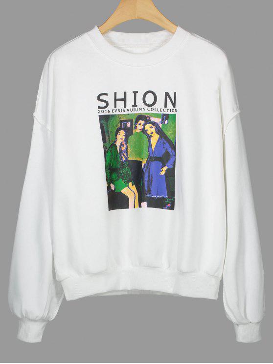 Sweatshirt mit Rundhalsausschnitt und Shion Grafik - Weiß Eine Größe