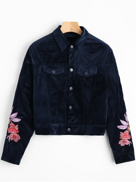 Revestimento de camisa de veludo bordado de flores - Azul Arroxeado M