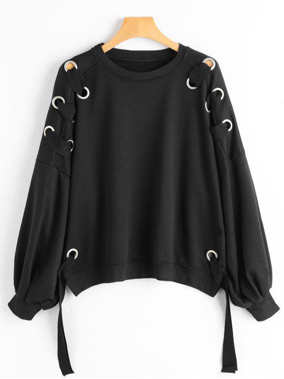 Camisola Embellished da luva da manga do Puff - Preto S