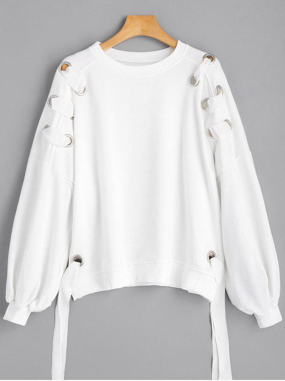 Sweatshirt mit Puff Ärmel und Ring Verziert - Weiß S