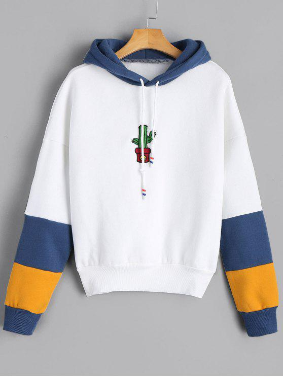Hoodie bordado de cordão com contraste Cactus - Branco S