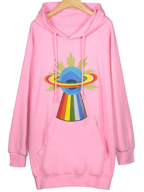 39% OFF  2019 Embroidered Tunic Hoodie In PINK