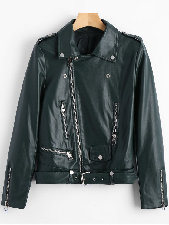 Belted Zipper Up Biker Jacket - Verde Escuro L