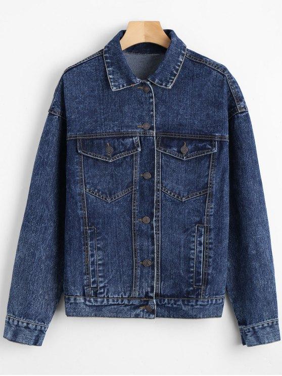 Jaqueta de gola de ombro com bolso - Azul Escuro M