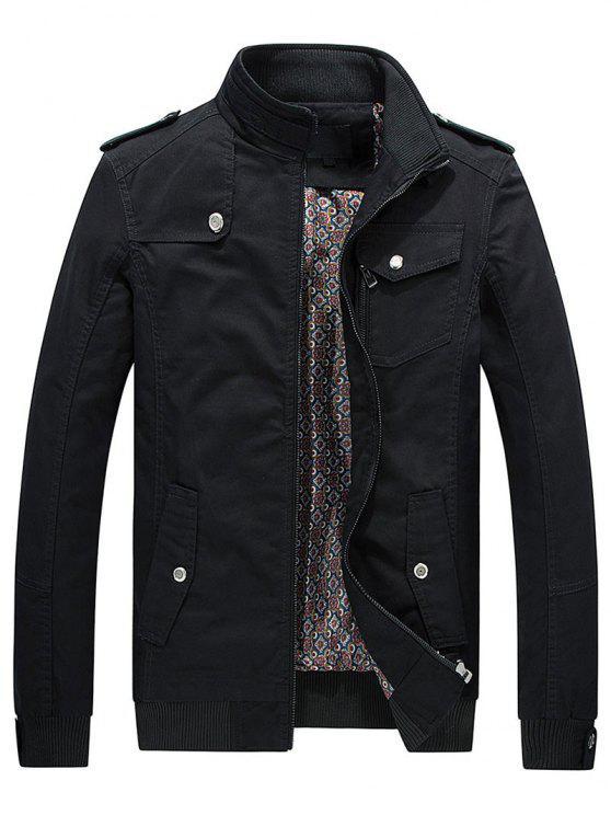 online Utility Pocket Zip Up Jacket - BLACK 3XL