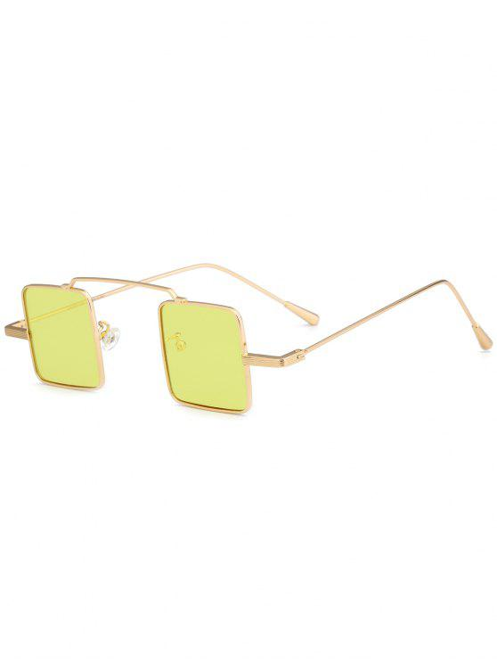 نظارات شمسية بعدسات مربعة وإطار كامل - أصفر فاتح