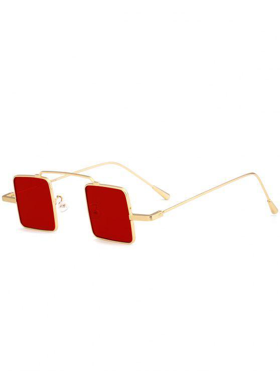 Óculos de Sol de Moldura Completa em Forma de Quadrado Vintage - Frame de Dourado + Lente Vermelha