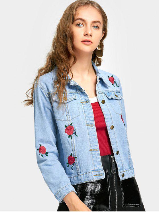 Flower Embroidery Denim Jacket With Pocket - Light Blue M