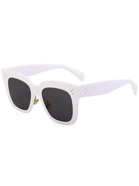 Lunettes Solaires Carrées Anti UV avec Monture - Blanc Cadre + Objectifs Gris