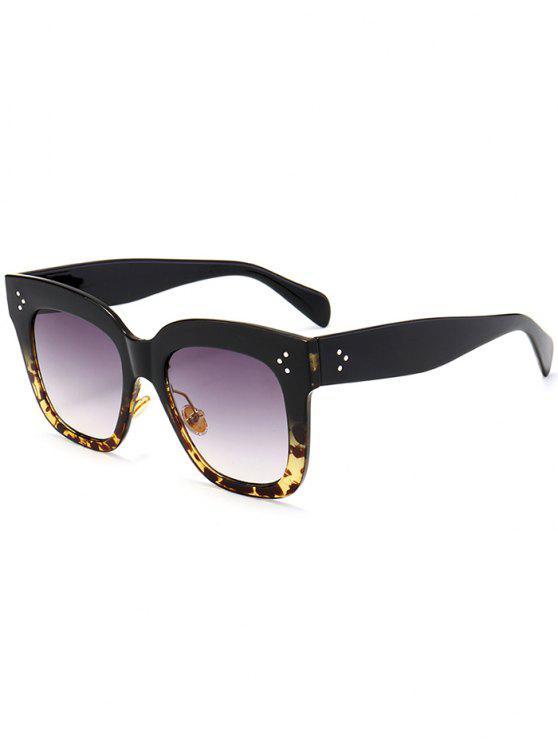 Occhiali Da Sole Quadrati Tutti Cerchiati Anti UV - Nero + Leopardo c2