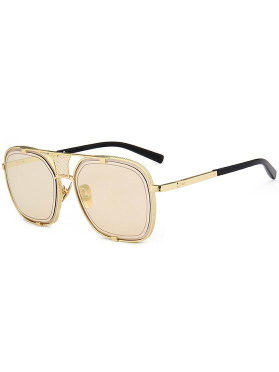 trendy Metal Frame Hollow Out Embellished Sunglasses - CHAMPAGNE GOLD