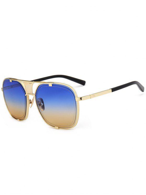 Moldura metálica Aqueça óculos de sol embellished - Azul e Amarelo