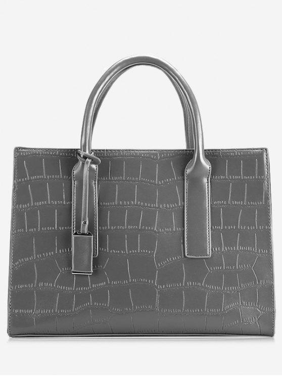 online PU Leather Crocodile Print Tote Bag - GRAY