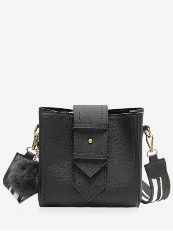 best Stitching Buckle Strap Pompom Crossbody Bag - BLACK