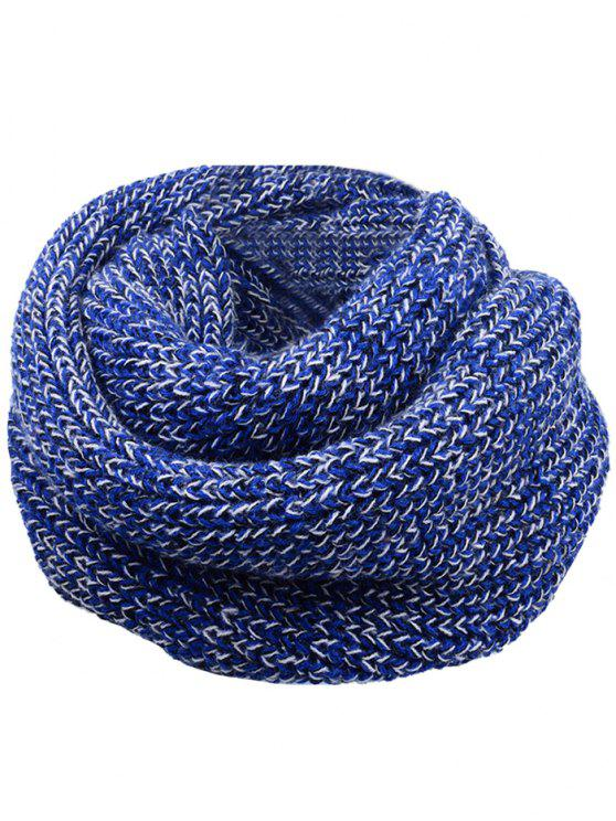 affordable Soft Color Splice Crochet Knitted Scarf - BLUE AND WHITE