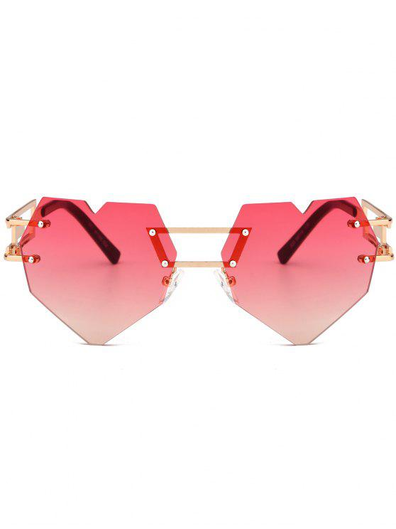 lady Outdoor Love Heart Embellished Rimless Sunglasses - RED