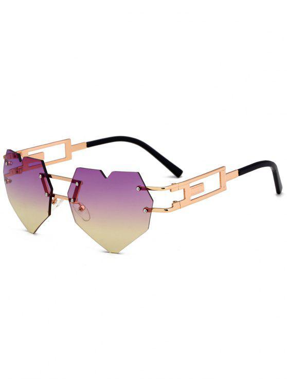 Gafas de sol sin adornos adornadas en el corazón al aire libre del amor - Púrpura + Amarillo c6