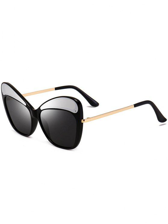 women Anti UV Metal Frame Cat Eye Sunglasses - BLACK AND GREY