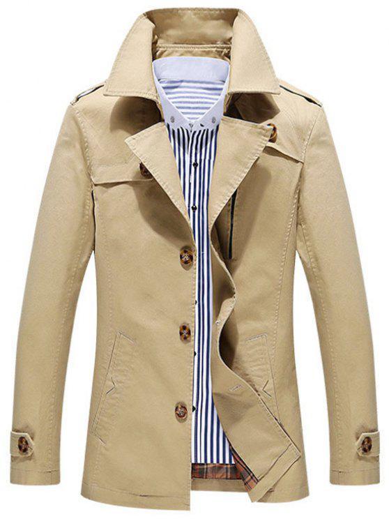 affordable Button Up Utility Jacket - KHAKI 2XL