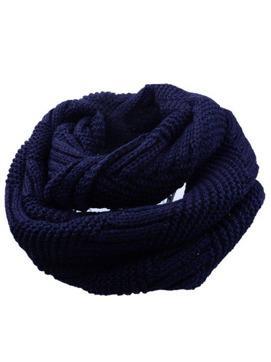 women Outdoor Crochet Ribbed Knitting Scarf - CADETBLUE