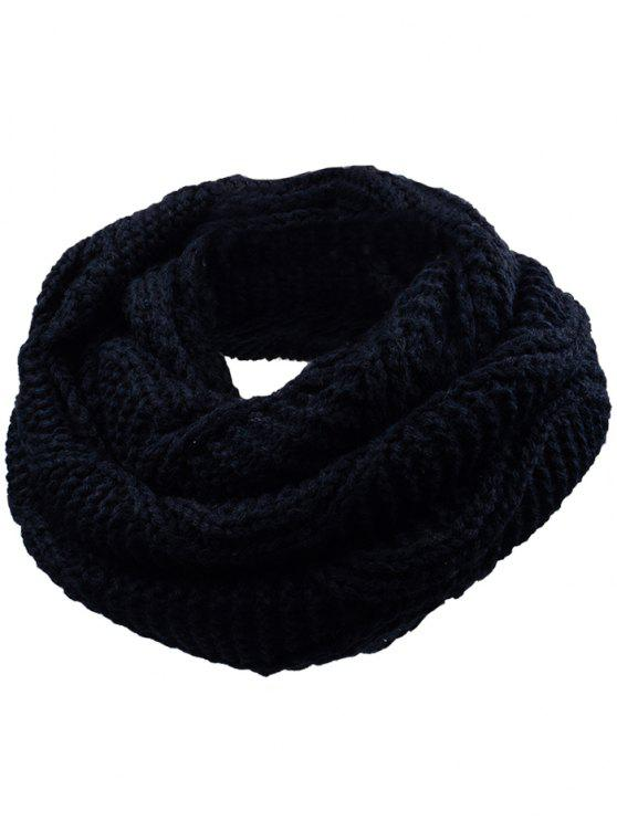 buy Soft Thicken Ribbed Knit Winter Scarf - YELLOW AND BLACK
