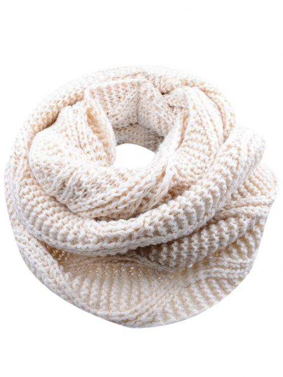 womens Soft Thicken Ribbed Knit Winter Scarf - BEIGE
