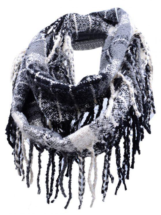 online Vintage Fringed Edge Artificial Cashmere Scarf - BLACK STRIPE
