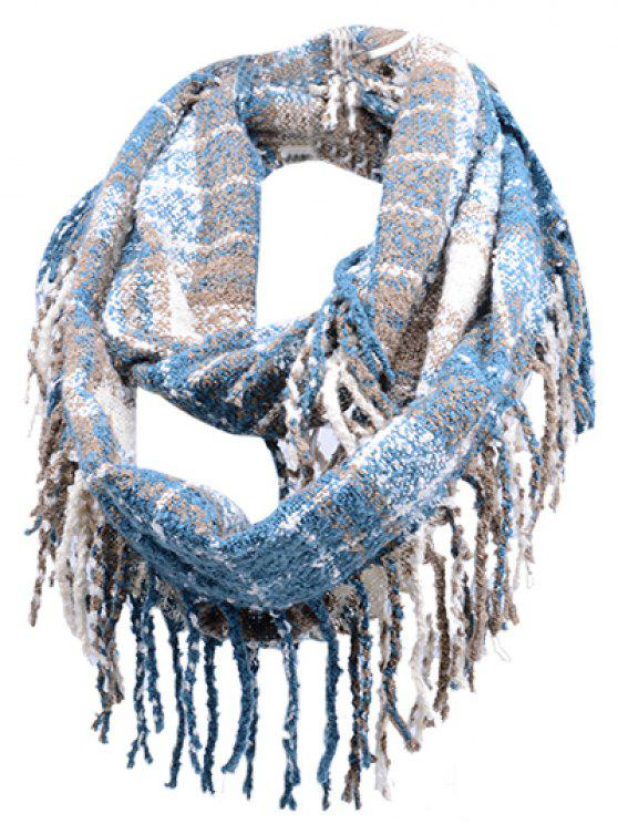 shop Vintage Fringed Edge Artificial Cashmere Scarf - WINDSOR BLUE