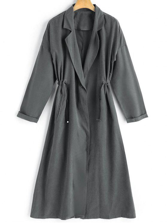 ee20cfa247 32% OFF] 2019 One Button Lapel Trench Coat In DEEP GRAY   ZAFUL