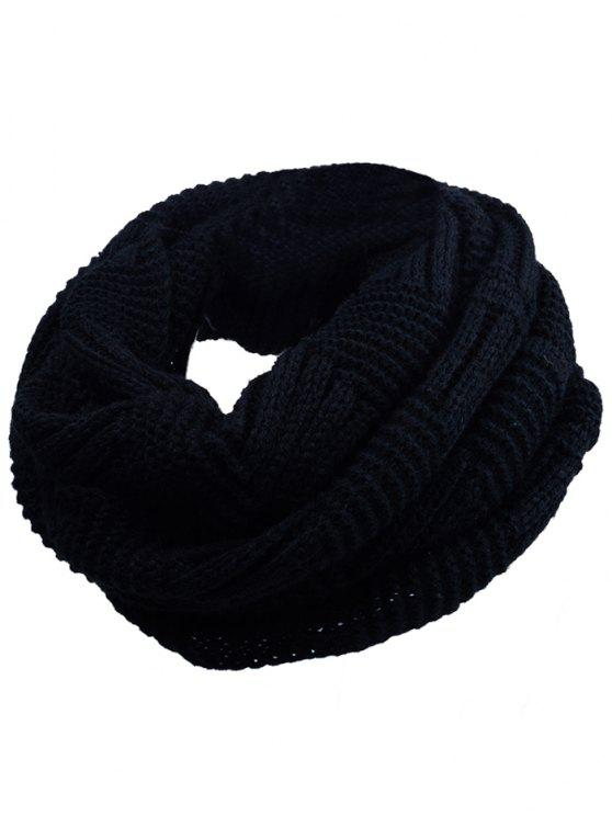 outfit Outdoor Crochet Ribbed Knitting Scarf - BLACK
