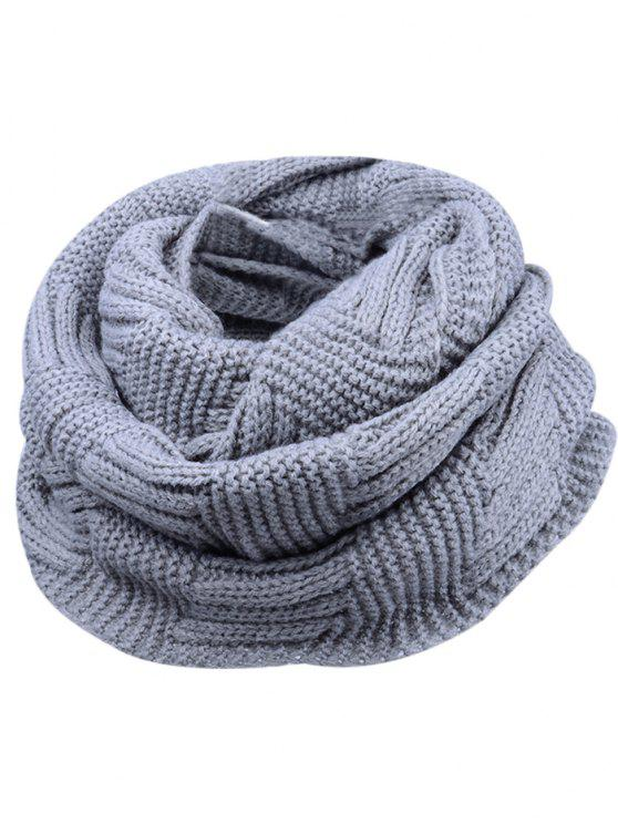 outfits Outdoor Crochet Ribbed Knitting Scarf - GRAY