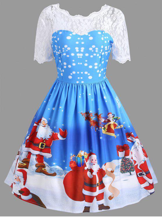 womens vintage christmas santa claus print lace insert dress blue l - Vintage Christmas Dress