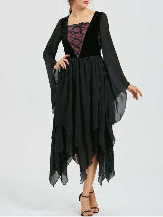 الدانتيل متابعة مضيئة كم الشيفون اللباس غير المتماثلة - أسود XL