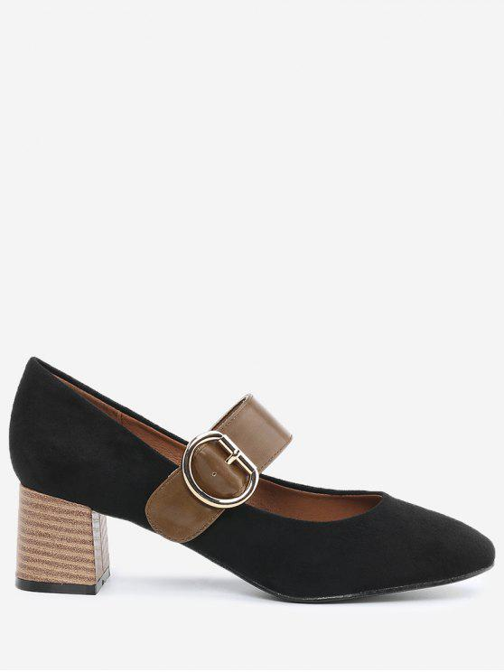 trendy Block Heel Buckle Strap Pumps - BLACK 39