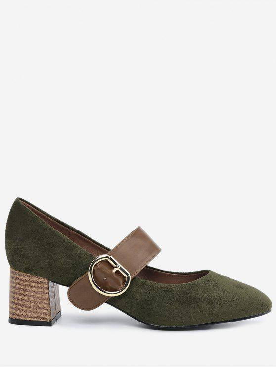 fashion Block Heel Buckle Strap Pumps - ARMY GREEN 36