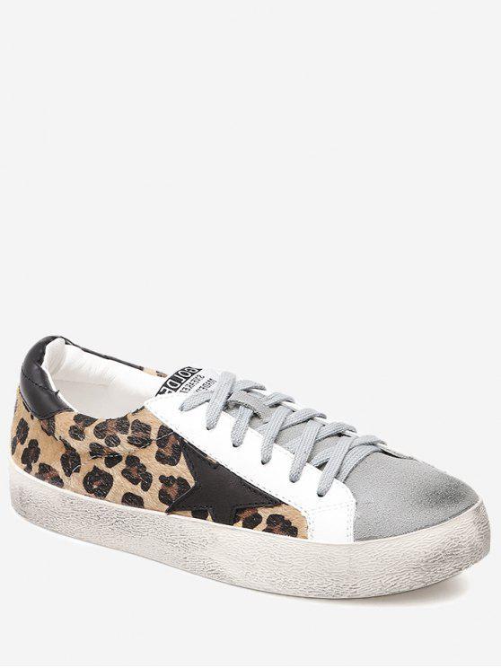 lady Star Leopard Print Color Block Skate Shoes - BLACK LEOPARD PRINT 35