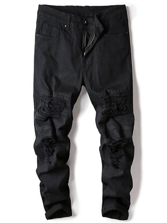 Straight Leg Stretch Destroyed Jeans - Preto 36