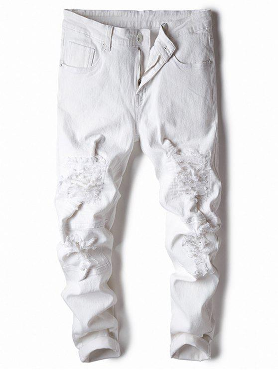 fancy Straight Leg Stretch Destroyed Jeans - WHITE 34
