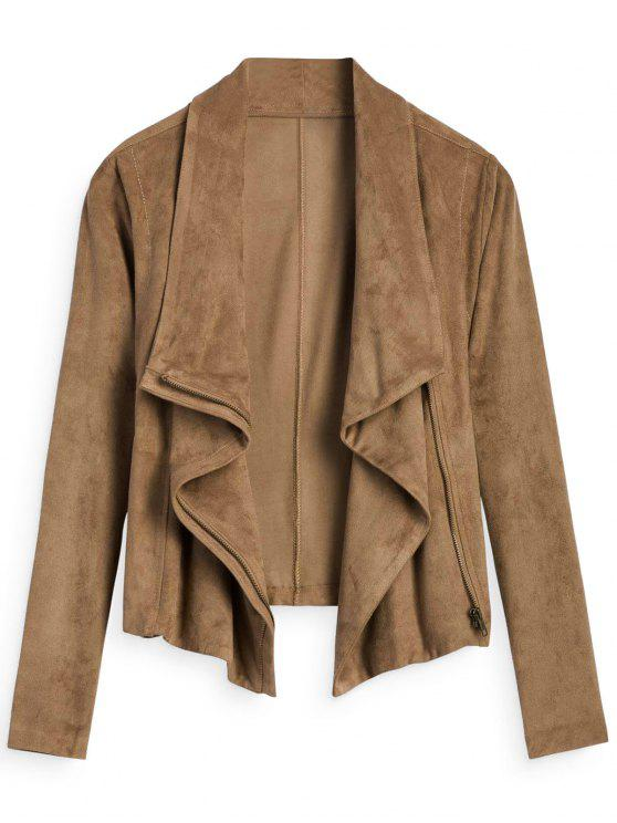 affordable Zip Up Cropped Faux Suede Jacket - LIGHT COFFEE S
