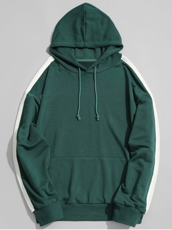 best Pocket Contrast Stripe Sleeve Hoodie - GREEN L
