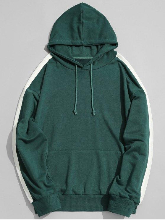 best Pocket Contrast Stripe Sleeve Hoodie Men Clothes - GREEN L