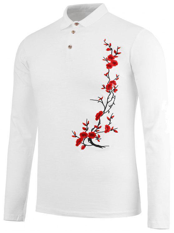 Chemise à broderie florale demi-bouton - Blanc XL
