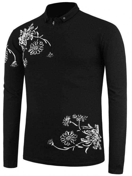 Camiseta con estampado floral de media cremallera de manga larga - Negro XL ce89572138f