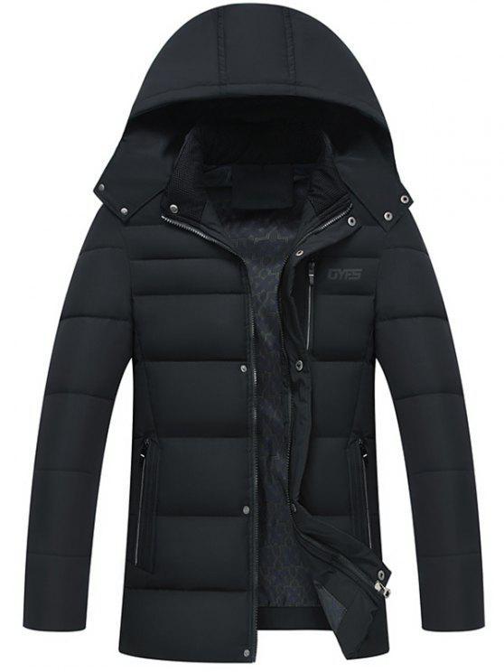 Full Zip Abnehmbare Kapuze Gepolsterter Mantel - Schwarz XL